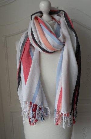 edler Esprit XXL Schal mit Fransen Weiß Bunt nur 1 x getragen