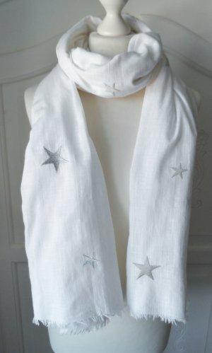 edler Esprit XXL Schal Weiß mit gestickten Sternen in Silber wenig getragen