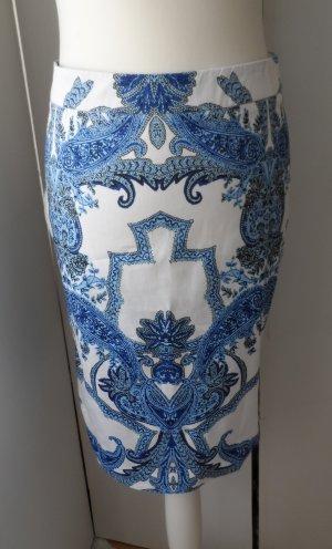 edler Hallhuber Paisley Rock Gr. 36 Weiß Blau nur 2 x getragen