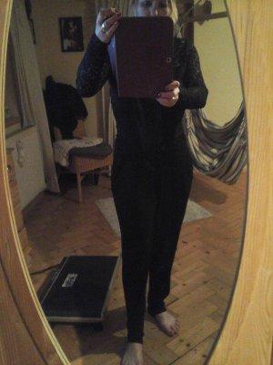 edler Jumpsuit Catsuit Overall schwarz mit Spitze von Amisu Gr.M Top