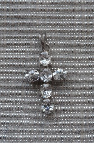 edler Kreuz Anhänger Zirkonia 925 Silber wenig getragen