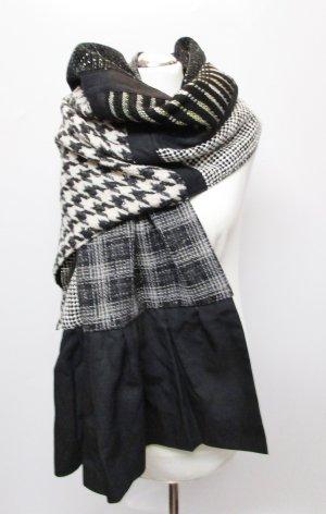 Edler Luxus Wolle Schal Cape Großes Tuch Umhang Schwarz Weiß Muster Hahnentritt Karo Wollstoff Viskose Rüschen