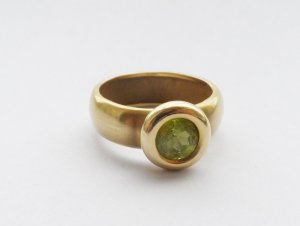 Gold Ring gold-colored-meadow green real gold