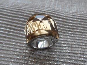 edler Ring aus Edelstahl m. einem gr. gelben Glitzerstein Gr. 17 (57) wenig getragen