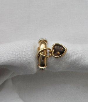 edler Ring Gr. 53 (17) aus 333 Gold mit Rauchquarz u. Zirkonia nur 2 x getragen
