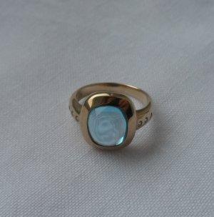 edler Ring Gr. 56 (17,8) 333 Gold m. einem Blautopas u. Zirkonia wenig getragen