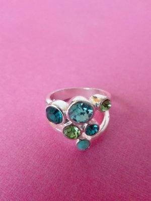 Edler Ring mit mehreren Steinen in Grün und Blau - Neu!