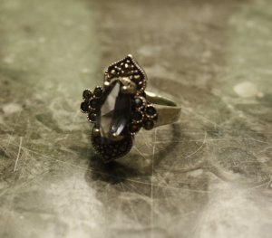Edler Ring Silber Markasit Edelstein 925er Silber Antik