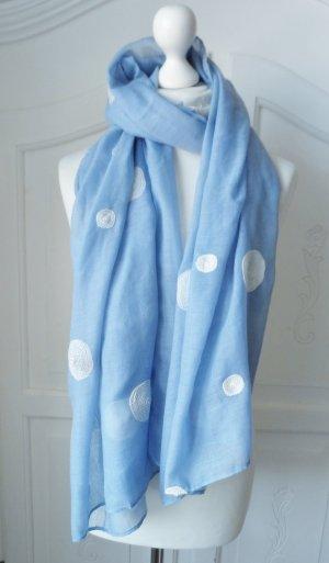 edler Schal Hellblau mit Punkten wenig getragen