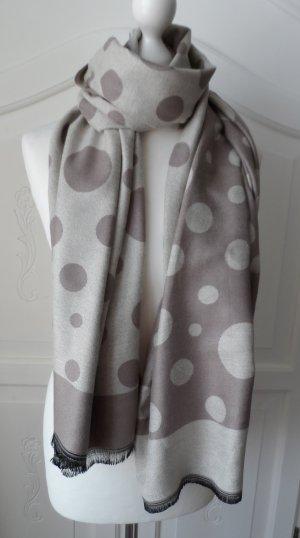 edler Schal mit Punkten aus Wolle und Baumwolle Beige Hellbraun wenig getragen