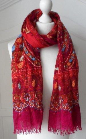 edler Schal von Malvin aus reiner Wolle Rot / Bunt wenig getragen