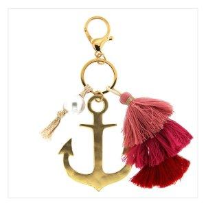 edler Schlüssel-/ Taschenanhänger Anker mit Quaste in gold *NEU*