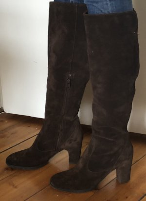 Progetto Heel Boots dark brown leather