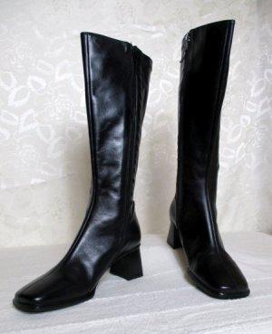 Edler Stretch Stiefel Schwarz Größe 38 Leder Blockabsatz