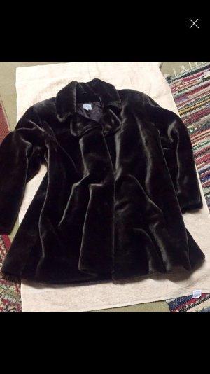 Cappotto in eco pelliccia marrone-nero