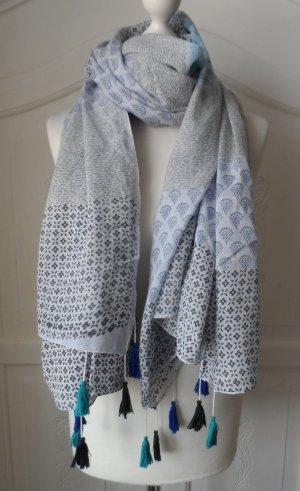 edler XXL Schal aus Baumwolle mit Muster und Quasten nur sehr wenig getragen