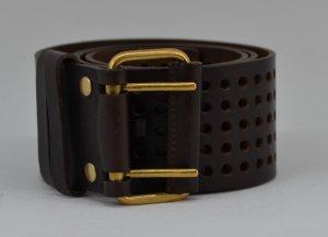 Yves Saint Laurent Cinturón marrón oscuro Cuero
