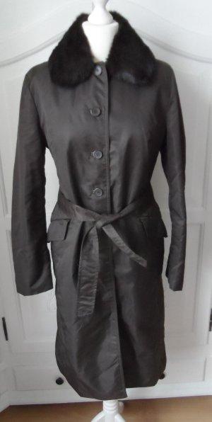 edler Zara Trench Mantel Gr. L Dunkeloliv mit abnehmbaren Fellkragen nur 2 x getragen
