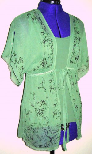 Woven Twin Set mint-lime-green silk