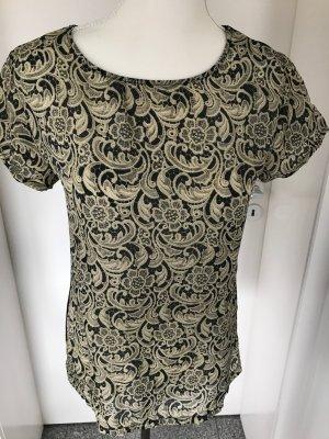 Edles Blusenshirt mit Seide Set, Gr.36 schwarz-beige