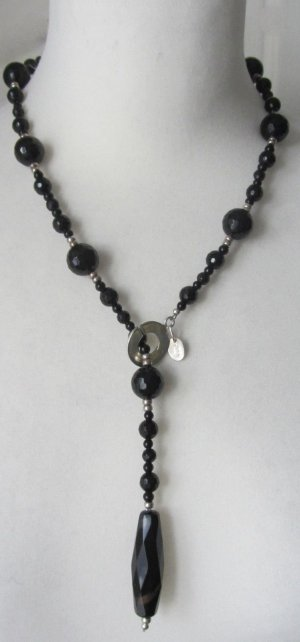 Collier Necklace silver-colored-black real silver