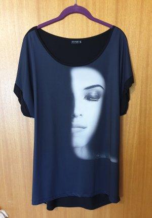 Edles Damen Shirt mit Frauengesicht + Steinchen Gr. 44/46
