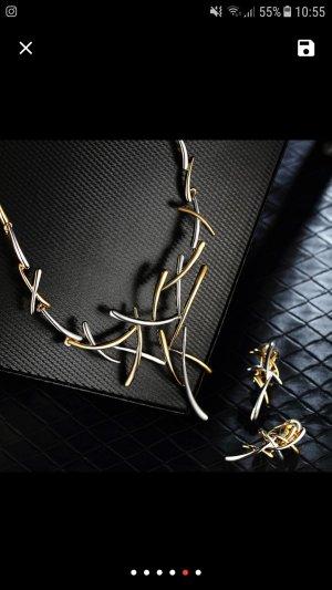 Edles Design Schmuckset Collier Ohrringe Gold Silber Brautschmuck Damen Schmuck