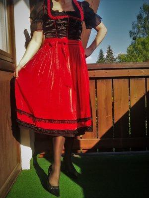 Edles Dirndl von Spieth & Wensky, rot/schwarz in Größe 40,