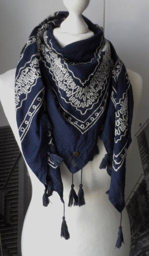edles ESPRIT Tuch Dunkelblau aus Baumwolle mit Stickerei aktuelle Kollektion