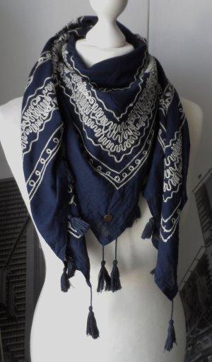 edles ESPRIT Tuch Dunkelblau aus Baumwolle mit Stickerei NP 29,95 aktuelle Kollektion