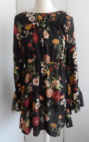 H&M Vestido estilo flounce negro Lana