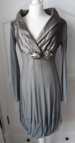 Kosmika Vestido de cóctel gris tejido mezclado