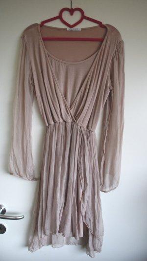 Vestido tipo túnica nude Seda