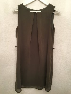 Edles kurzes Kleid aus fliessendem Stoff - ❤ khaki