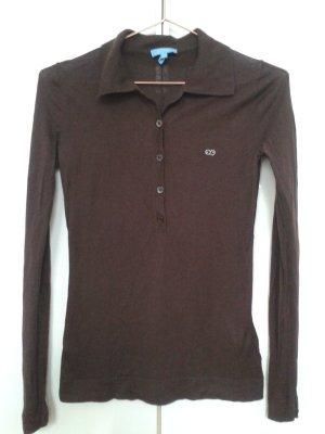 Escada Sport Polo Shirt dark brown silk