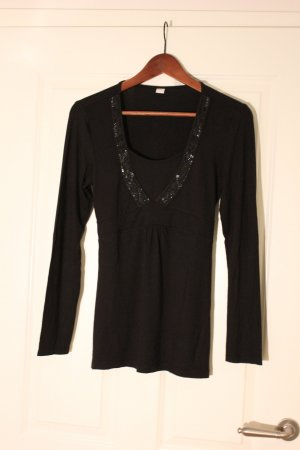 s.Oliver Top taille empire noir viscose