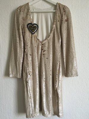 Edles nude / beige Pailetten Kleid mit tiefem Rücken Ausschnitt