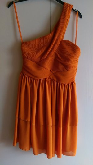 edles orangefarbenes one-shoulder Kleid