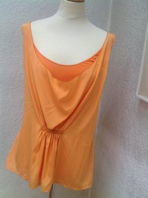 Camisa con cuello caído naranja claro tejido mezclado