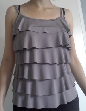 Flounce Top grey-grey brown cotton
