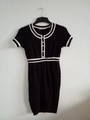 edles schwarz weißes Kurzarm Kleid