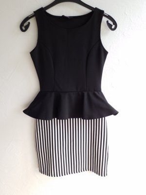 Edles schwarze weißes Kleid mit Schößchen