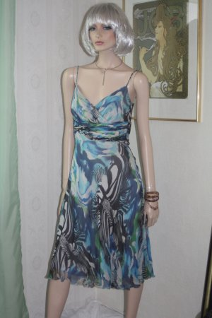 edles Seidenkleid Kleid Seide Safarimuster 38