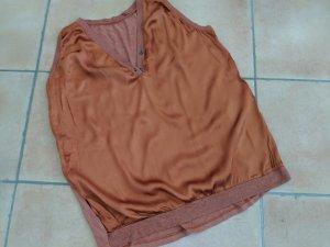 Edles Shirt Seide mit Lurex und Baumwolle, rostbraun, Gr. 46