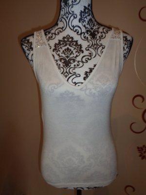 Esprit V-Neck Shirt white-silver-colored