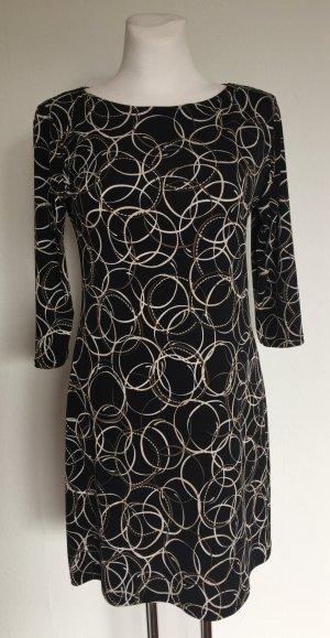 Edles Stretch Kleid MADE IN ITALY Schwarz gemustert Gr.L