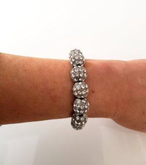 Edles und Wunderschönes Stretch Armband mit Straßsteinen Silber