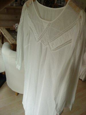 edles weißes Blusenkleid mit Spitze in M
