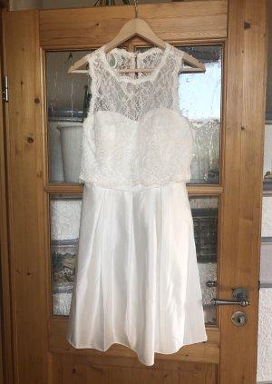 Edles weißes Kleid Hochzeitskleid Standesamt Ballkleid Trauung Sommerkleid Spitze 40 L neu
