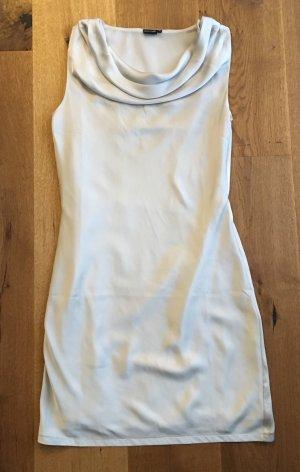 Edles weißes/silbernes Kleid Wasserfall Ausschnitt